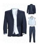 5 delna mornarsko modra obleka z belim brezrokavnikom